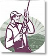 Fly Fisherman Fishing Retro Woodcut Metal Print