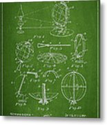 Folding School Globe Patent Drawing From 1887 Metal Print by Aged Pixel