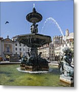 Fountain In The Pedro Iv Square Also Best Known As Rossio Square Metal Print