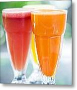 Fresh Orange Carrot And Watermelon Fruit Juice Metal Print