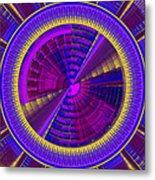 Futuristic Tech Disc Fractal Flame Metal Print