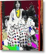 Geronimo's Wife Ta-ayz-slath And Child Unknown Date Collage 2012 Metal Print