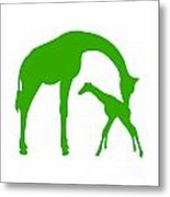 Giraffe In Green And White Metal Print