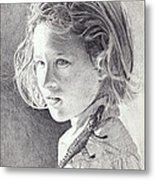 Girl With Toy Alligator Metal Print