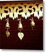 Golden Bells In Buddhist Place Of Worship In Chiang Mai Thailan Metal Print