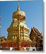 Golden Pagoda And Umbrella Wat Phrathat Doi Suthep Temple Metal Print