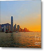 Golden Sunset In Hong Kong Metal Print