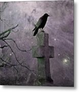 Surreal Crow In Gothic Purple Sky Metal Print
