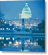 Government Building Lit Up At Night Metal Print