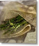 Green Asparagus On Burlab Metal Print