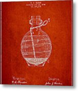 Hand Grenade Patent Drawing From 1884 Metal Print