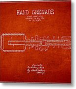 Hand Grenade Patent Drawing From 1916 Metal Print