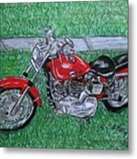 Harley Red Sportster Motorcycle Metal Print