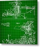 Helicopter Patent 1940 - Green Metal Print