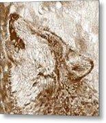 Howling Gray Wolf Metal Print