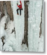 Ice Climber Ascending At Ouray Ice Metal Print