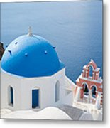 Iconic Blue Domed Churches In Oia Santorini Greece Metal Print