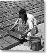 Indians Making Adobe Bricks Metal Print