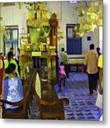 Inside The Historic Jewish Synagogue In Cochin Metal Print
