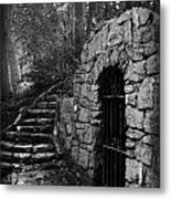 Iron Door In A Garden Metal Print