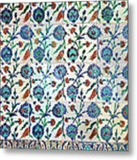 Iznik Ceramics With Floral Design Metal Print