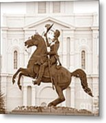 Jackson Square Statue In Sepia Metal Print