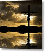 Jesus Christ Crucifixion On Good Friday Silhouette Reflected In  Metal Print by Matthew Gibson