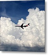 Jetliner And Clouds Metal Print