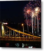 July 4th Fireworks In Pittsburgh Metal Print
