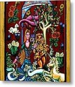 Lady Lion And Unicorn Metal Print