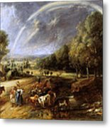 Landscape With A Rainbow Metal Print