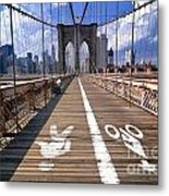 Lanes For Pedestrian And Bicycle Traffic On The Brooklyn Bridge Metal Print
