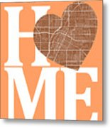 Las Vegas Street Map Home Heart - Las Vegas Nevada Road Map In A Metal Print