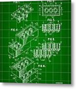 Lego Patent 1958 - Green Metal Print