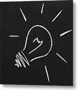 Light Bulb On A Chalkboard Metal Print