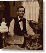 Lincoln At Breakfast Metal Print by Ray Downing