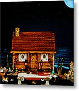 Log Cabin Scene With The Classic 1959 Dodge Royle Convertible In Color Metal Print