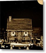 Log Cabin Scene With The Classic Old Vintage 1959  Dodge Royal Convertible At Midnight In Sepia  Metal Print by Leslie Crotty