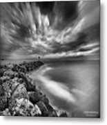 Long Exposure Sunset At The Oceanside Metal Print