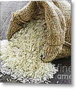 Long Grain Rice In Burlap Sack Metal Print by Elena Elisseeva