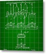 Louis Pasteur Beer Brewing Patent 1873 - Green Metal Print
