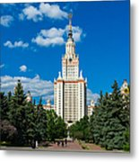 Main Building Of Moscow State University On Sparrow Hills Metal Print