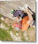 Man Climbing Re Azul, An Historic 7b Metal Print