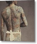 Man With Traditional Japanese Irezumi Tattoo Metal Print by Japanese Photographer