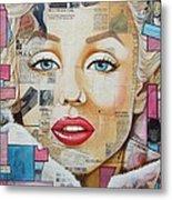 Marilyn In Pink And Blue Metal Print