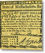 Massachusetts Banknote Metal Print
