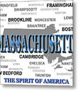 Massachusetts State Pride Map Silhouette  Metal Print