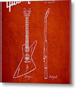 Mccarty Gibson Electrical Guitar Patent Drawing From 1958 - Red Metal Print