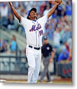 Miami Marlins V New York Mets Metal Print