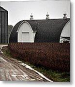 Michigan Barn With Grain Bins Rainy Day Usa Metal Print